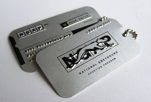 Dog tag business cards.