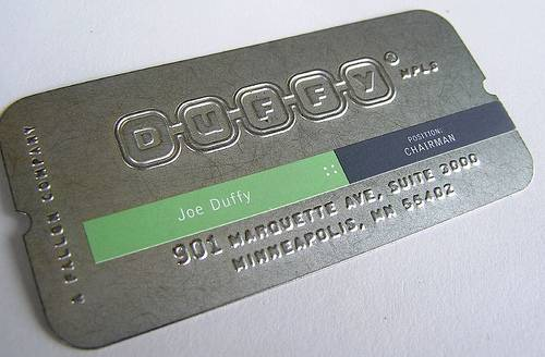 Metal card with imprint.