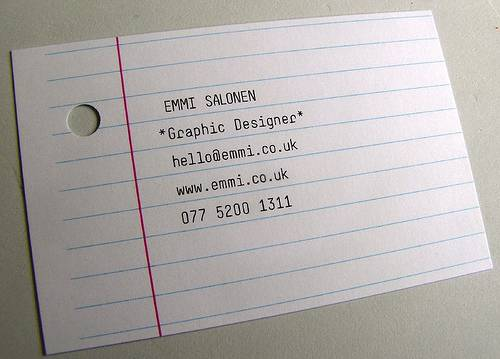 Notebook paper designed business card.