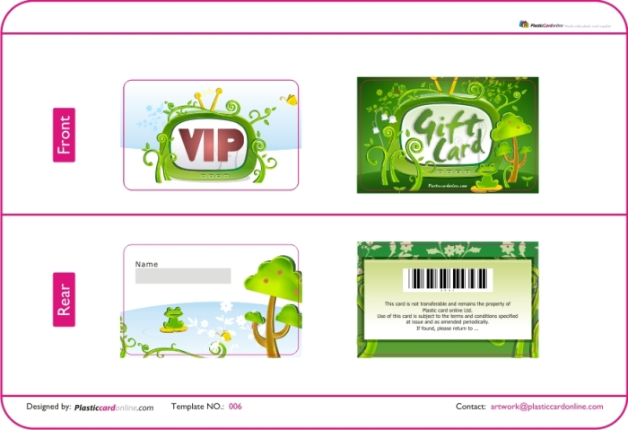 Free Plastic Card Template. Cartoon Card , Green Card, Kid Like Vip Card  Free Vip Pass Template