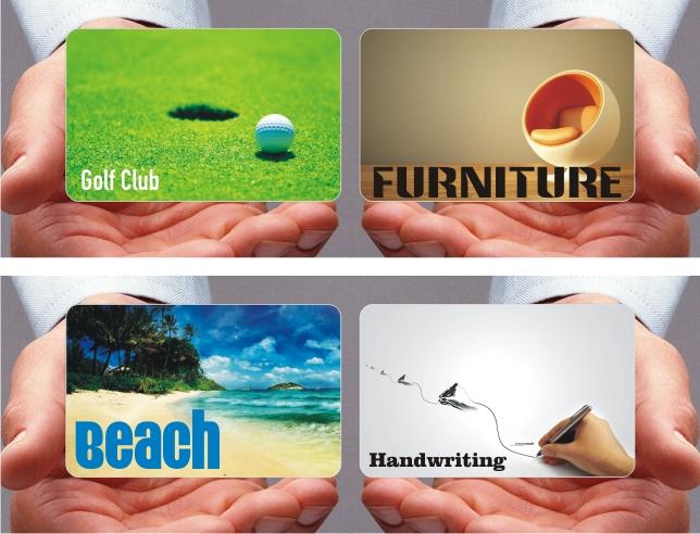 golf club card, beach card, handwriting card