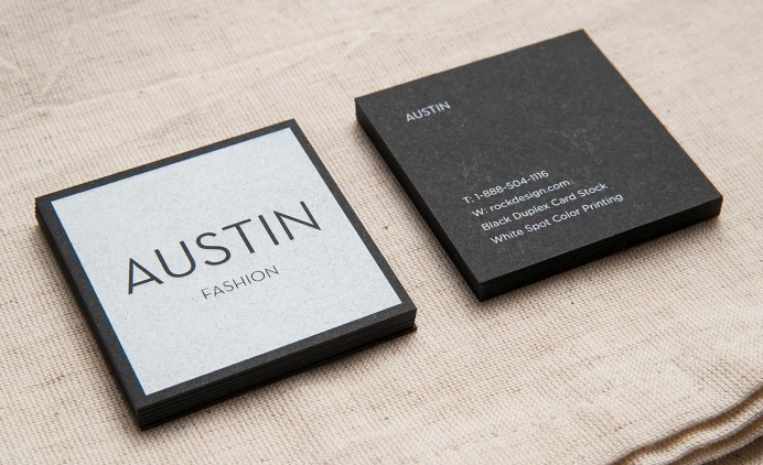 Black business cards with custom shape